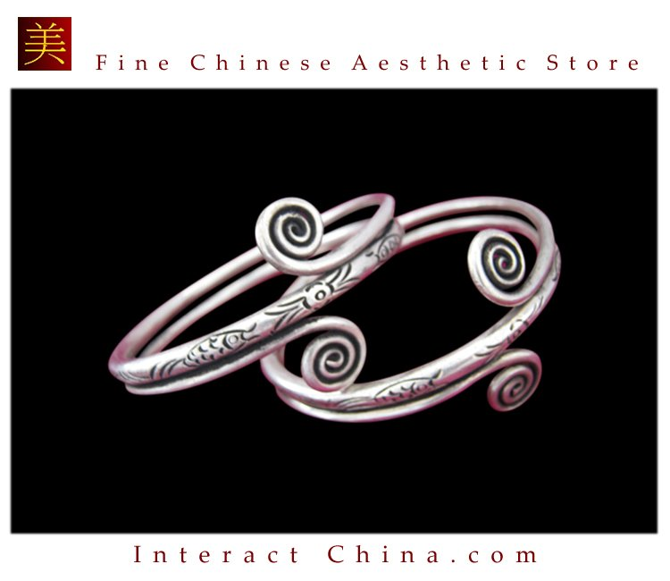 Tribal Silver Cuff Bracelet Chinese Ethnic Hmong Miao Jewelry #226 Unique Handmade