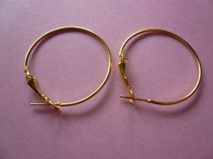 Goldplated Metal Hoop & Hook  Earwires 33mm
