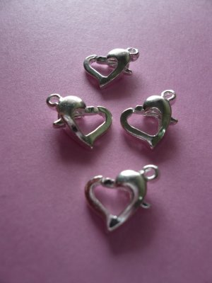 Silver Color Metal Heart Shaped Lobster Clasps