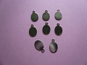 Silverplated Metal Tag for Cabochon 8mm