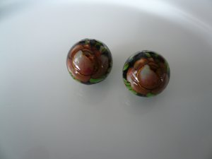 Red on Black Floral Tensha Beads 12mm
