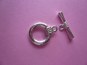 Silverplated Metal Round Toggle Clasps 11mm