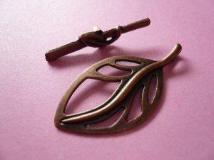 Copper Leaf Toggle Clasps