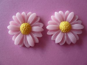 Pink Flower Daisy Cabochons