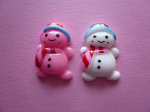 Pink & White Snowman Cabochons