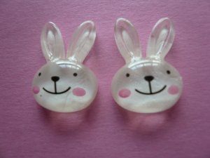 White Glitter Bunny Cabochons