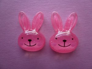 Pink Glitter Bunny Cabochons