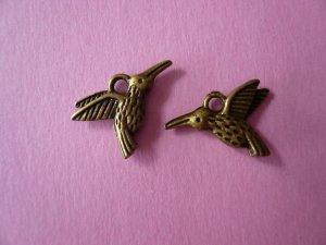 Antique Bronze Hummingbird Charms 6PCS