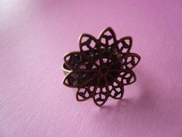 Bronze Color Filigree Ring Base 20mm