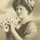 P061~EDWARDIAN~Woman & Daisies~Photo Postcard