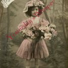 Edwardian YOUNG GIRL Flowers French ORG postcard P104
