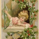 c.1910 CHRISTMAS Bells CHILD Holly postcard P154
