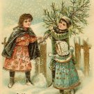 c.1900's CHRISTMAS CHILDREN Tree GOLD postcard P147