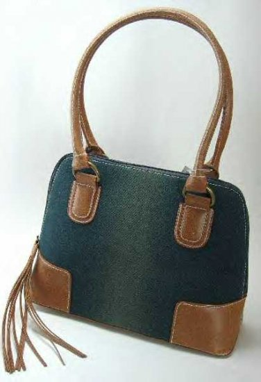 Dirty Look Denim Handbags with Faux Leather Trim