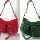 Studded Handbags with Front Buckled Pockets