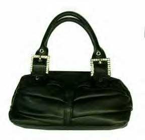 Folded Look Handbags with Rhinestone Buckles