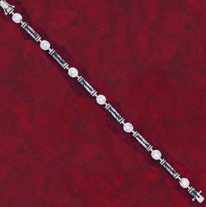 Designer Style CZ Tennis Bracelet with Coiled Link Design