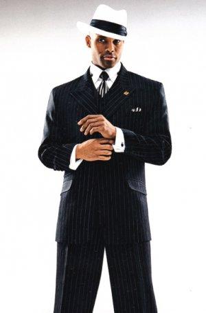 3pc black white gangster stripe stacy adams mens fashion suit