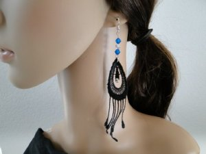 Long Dangle Black Venise Lace Earrings