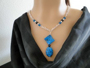 Set 8 Necklace and Earrings Turquoise Blue Stones