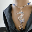 Set 42 Necklace and Earrings Silver Toned Seahorse w/Sapphire Swarovski Rhinestones