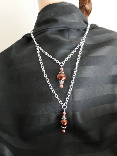 Set 14 Necklace and Earrings Double Drop Chocolate Faux Pearls