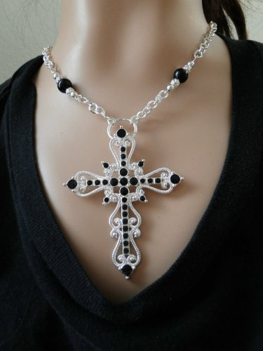 Set 20 Necklace and Earrings Silver and Black Open Cross