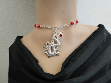 Set 21 Necklace and Earrings Dragon w/Red Swarovski Rhinestones