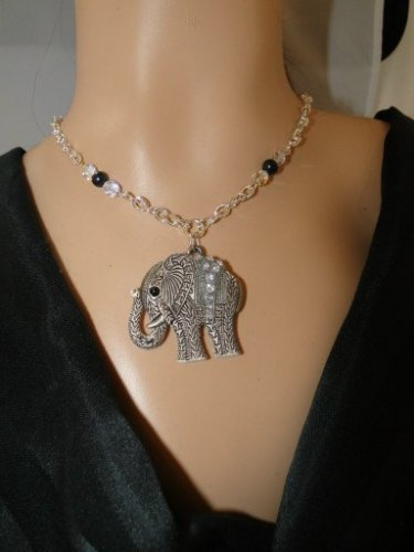 Set 26 Necklace and Earrings Lucky Elephant w/Rhinestones