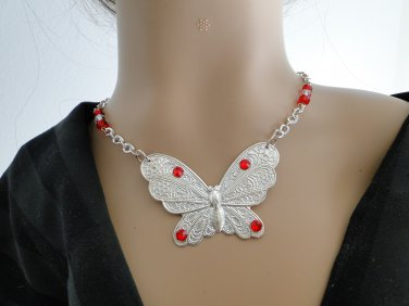 Set 4 Necklace and Earrings Butterfly with Red Swarovski Rhinestones