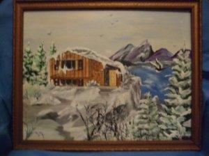 Winter Cabin Original Acrylic/Water Color by RWV