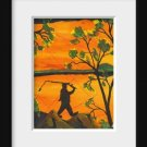 Man Fishing Reversal an Original Water Color by RWV