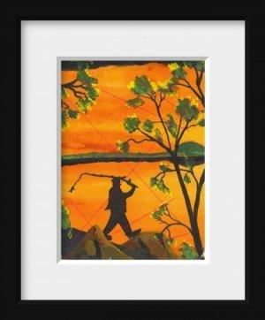Man Fishing Reversal an Original Water Color by RWV