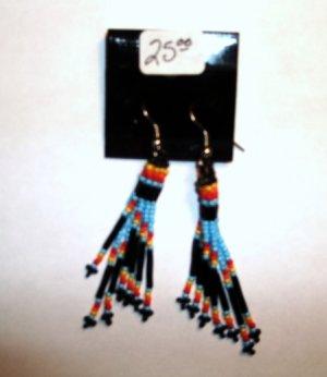Native American Fire Earrings Beaded Item E333