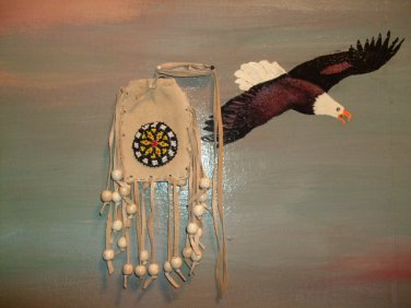 Beaded Pow Wow Medicine Bag Item MB355