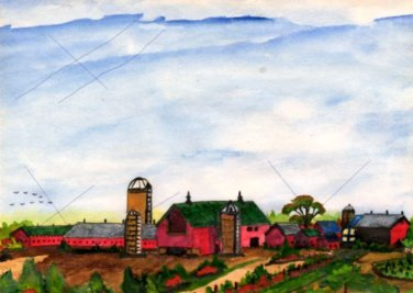 The Farm a Watercolor By Robert W. Vincent