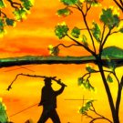 Man Fishing Reversal Canvas Print