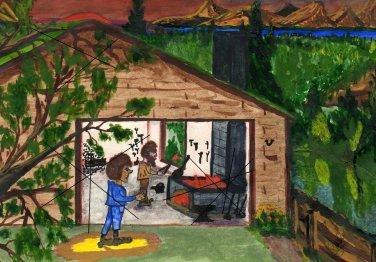 The Garage on Canvas Print