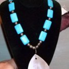 Estate Sterling and Turquoise Pendant Shell Drop Necklace