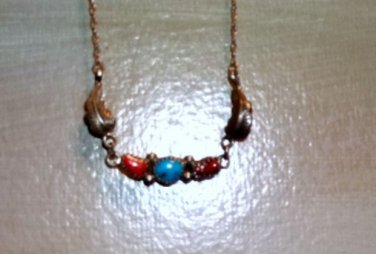 Turquoise and Red Coral Native drop necklace