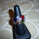 DARE TO DAZZLE BIG BOLD RING. MULTI COLORED SILVERTONE