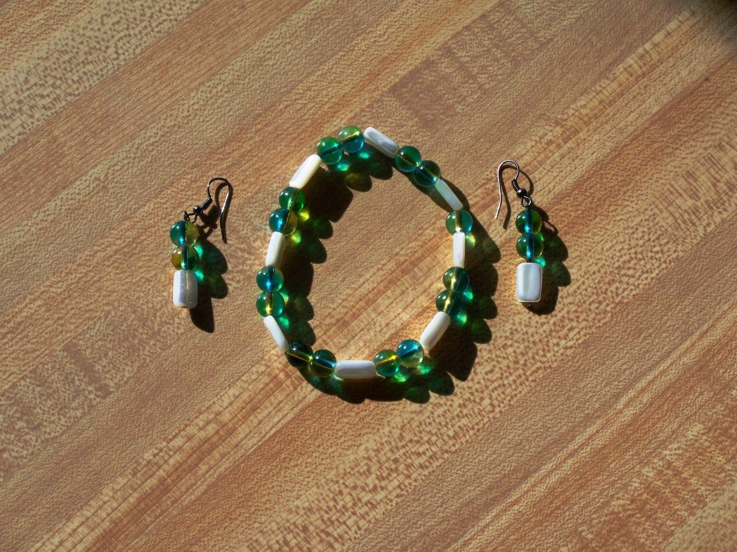 Blue Green Cats Eyes Bracelet and Earrings