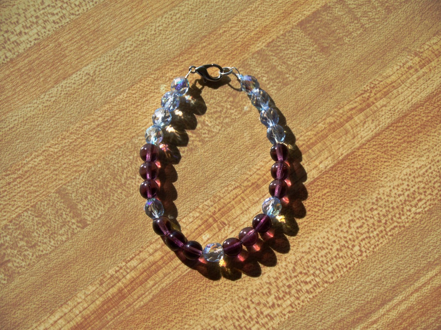Grape with fire polished crystals bracelet