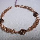 Handmade Copper Chainmaile And Bead Bracelet
