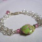 Handmade Green & Pink Lampwork & Chain Bracelet