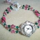 Pink  & Green Lampwork Beaded Watch
