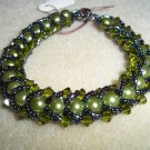 Olive Green & Black Bead-Weaved Bracelet