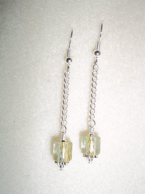 Handmade Cane Glass Beaded Earrings