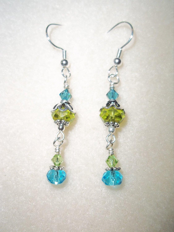 Handmade Wire-Wrapped Green & Blue Earrings