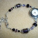 Handmade Purple & Black Beaded Watch